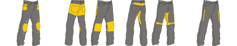 Trilobite Forcefield Kevlar Jeans mit höhenverstellbaren Protektoren und Lüftungssystem