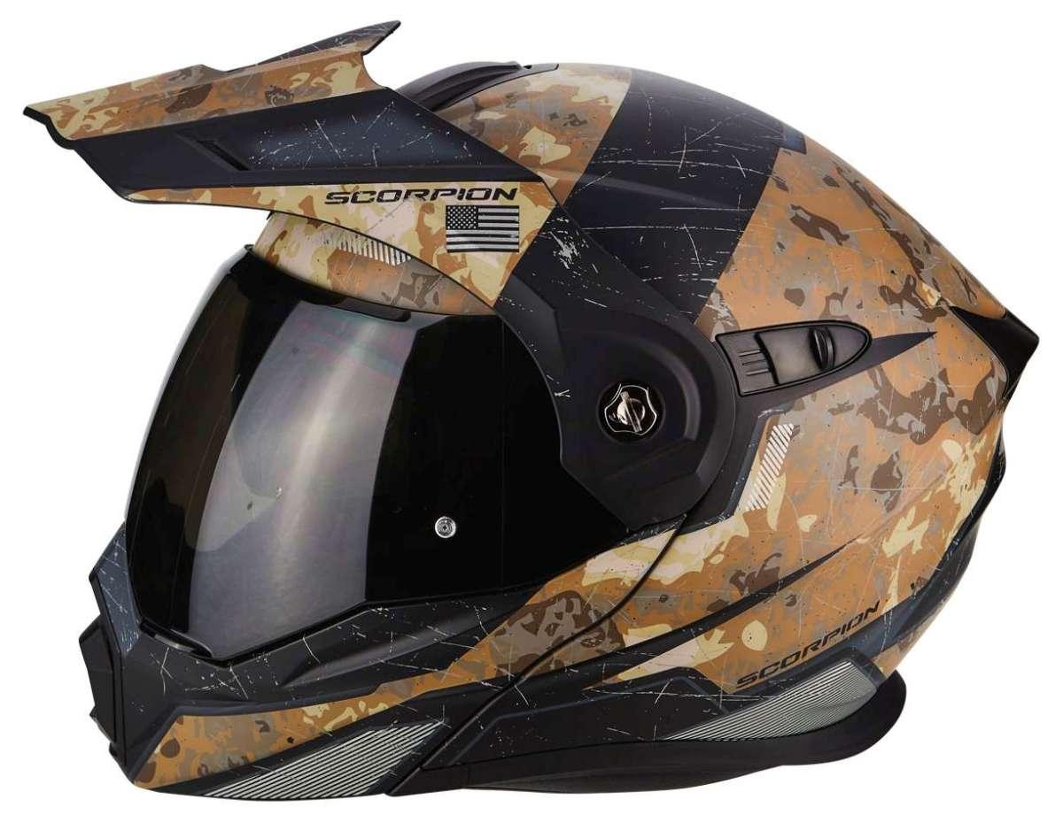 S 55//56 Scorpion ADX-1 Battleflage Sand Motorradhelm Klapphelm