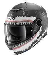 Shark Spartan 1.2 Replica LORENZO WHITE SHARK MAT Fiberglas Integralhelm matt-schwarz-weiß