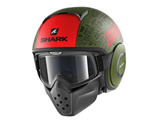 Shark Drak TRIBUTE RM MAT Modular Helm matt-gruen-rot