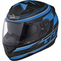 Germot GM 306 Integralhelm matt-schwarz-blau mit Integriertem Sonnenvisier
